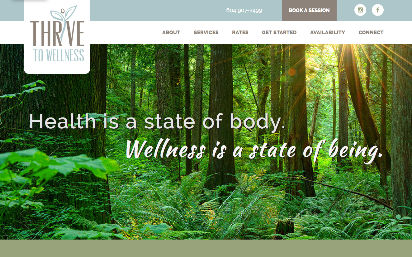 Thrive to Wellness Website Development by Goodwin Studios Squamish BC